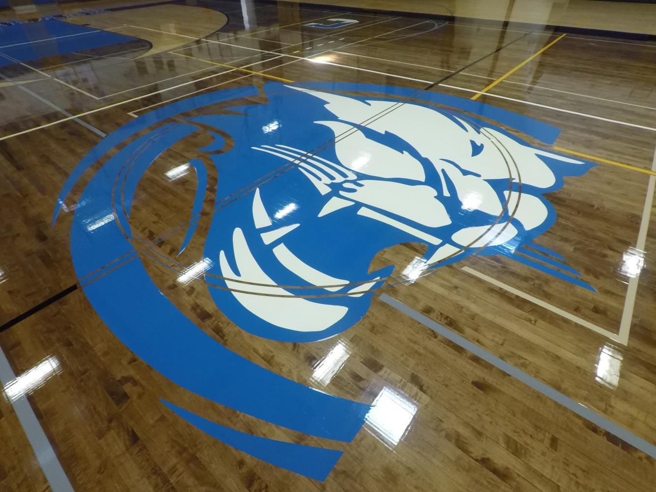 Centereach High School Gym Cougar Logo